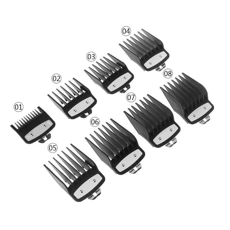 "8pcs Professional Cutting Guide Comb for Wahl with Metal Clip #3171-500-1/8"" to 1"" Set"