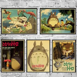 Vintage Poster Miyazaki Hayao Anime My Neighbor Totoro Kraft Paper Retro Posters Wall Art Painting Kidsroom Decor Sticker(China)