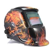 Solar Energy Automatic Changeable Light Darkening Electric Welding Helmet Skull Pattern Welder Grinding Cap Protective Mask недорого
