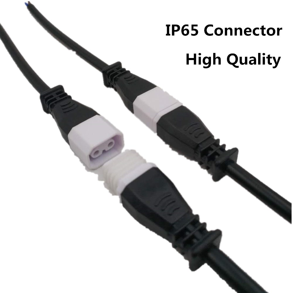 Waterproof IP65 Pairs 2 Core 2 Pin Power Cord Led Strip Wire Connector 15cm Waterproof Pigtail Connector