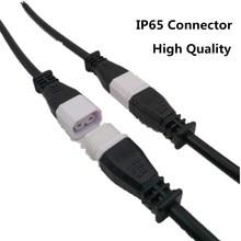 Водонепроницаемый IP65 пар 2 ядра 2 pin шнур питания светодиодные полосы провода разъем 15 см водонепроницаемый косички разъем