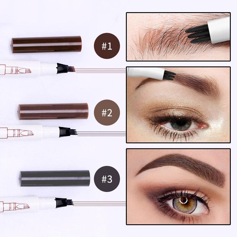 Four Tips Eyebrow Tattoo Pen Long Lasting Waterproof Smudge-proof Micro-Fork Tip Liquid Eyebrow Pen Wholesale