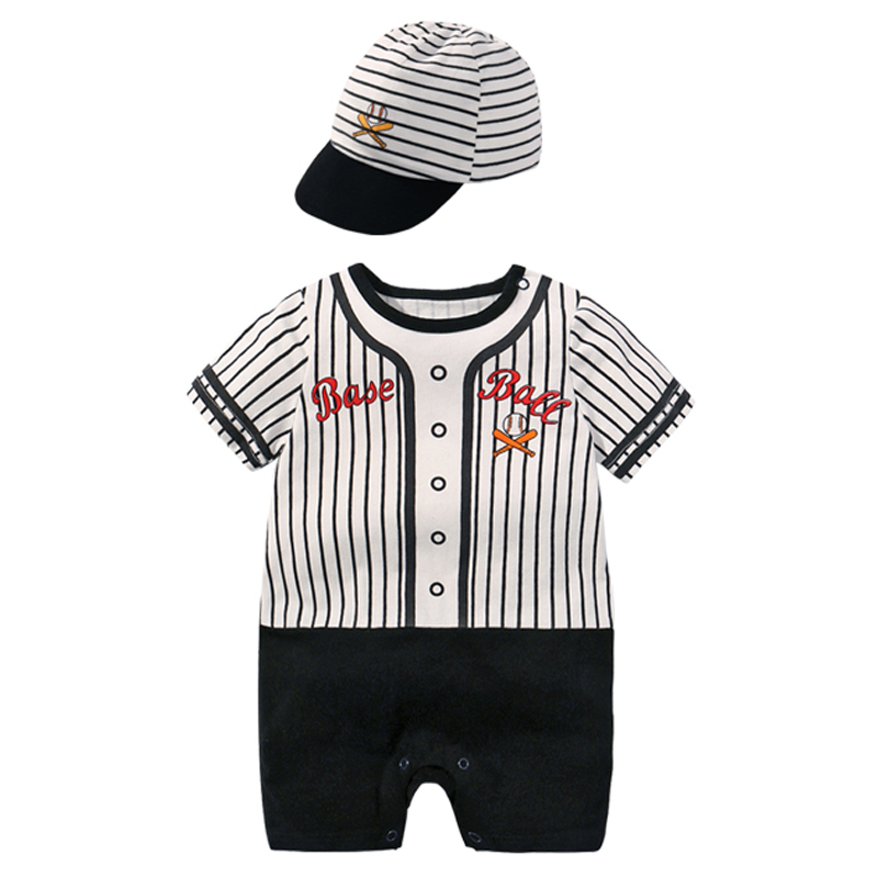 New Style Short Sleeved Boys Dress Baby Romper Cotton Newborn Body Suit Cotton Pajama Boy Baseball Uniform Rompers 2019 SummerNew Style Short Sleeved Boys Dress Baby Romper Cotton Newborn Body Suit Cotton Pajama Boy Baseball Uniform Rompers 2019 Summer