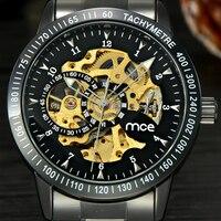 Винтаж черный Для Мужчин Скелет наручные часы из нержавеющей стали, антикварные стимпанк Повседневное Автоматический Скелет механический ...