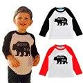 Camiseta meninos Meninas camiseta Deguisement enfants garcon 2017 Crianças t-shirt de algodão roupas de impressão Urso T-shirt Do raglan tshirts