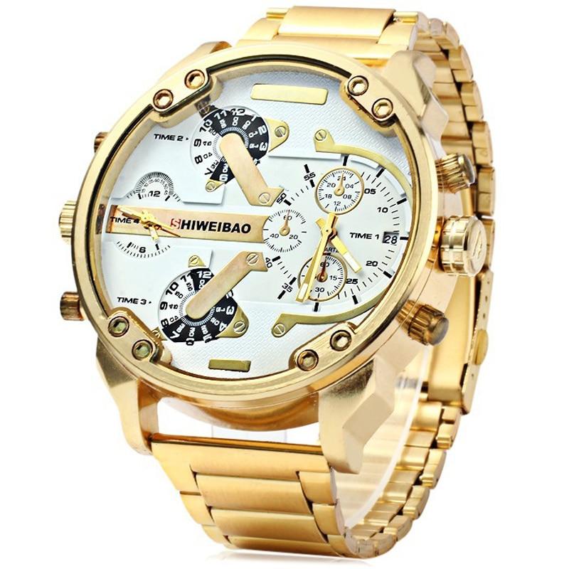Oulm 9941 Men Double Quartz Movt Gold Watch Case Compass Wristwatches For Men Sport Military Quartz