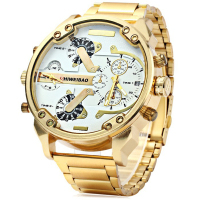 Oulm 9941 Men Double Quartz Movt Gold Watch Case Compass Wristwatches For Men Sport Military Quartz