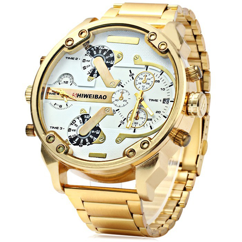 SHIWEIBAO Burra Ora Watches Double Quartz Movt Gold Watch Wristwatches Big Dial Markë Sport Sport Kuarcz Ushtarak Orë Relogio Masculino