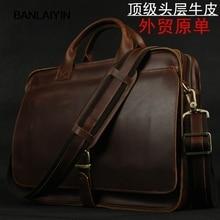 Luxury Genuine Leather Men Messenger Bag Leather Shoulder Bag Men Crossbody Bag Tote Handbag Business Bag 14″ Laptop Briefcase
