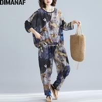 DIMANAF Plus Size Women Sets Summer Loose Big Size Casual Female Lady Tops Shirt Batwing Long Pants Print Floral Set Suit 2019
