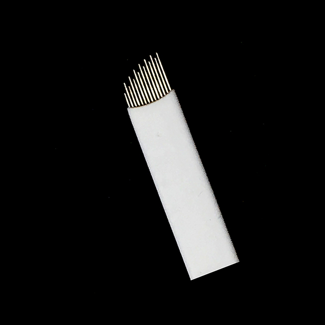 Wave  14 Pins Permanent Makeup Eyebrow Tatoo Blade Microblading Needles  Wire drawing eyebrow needle For Tattoo Manual 1