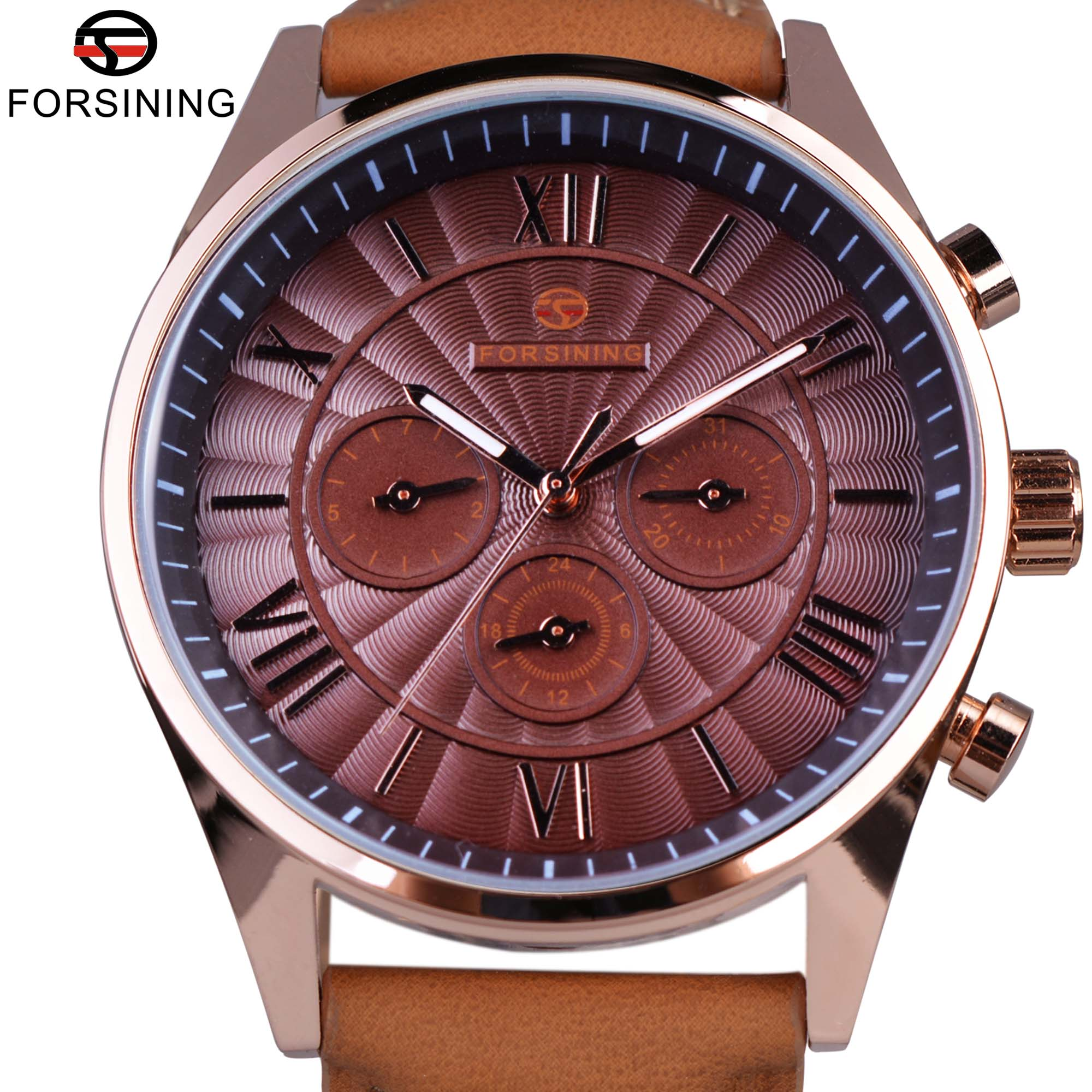 Forsining Classic Series Swirl Dial Suede Strap 6 Hands Calendar Display Men Watches Top Brand Luxury Automatic Watch Clock Men whole sale baby safety car seat 4 colors age range 2 10 years old baby car seat for kid active loading weight 9 30 kg baby seat