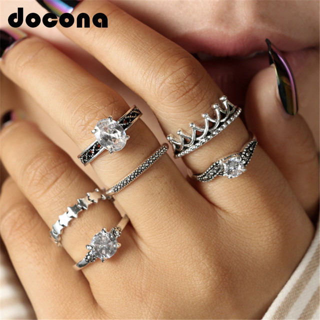 docona Bohemian Crown Star Carved Knuckle Rings Set for Women White Crystal Midi