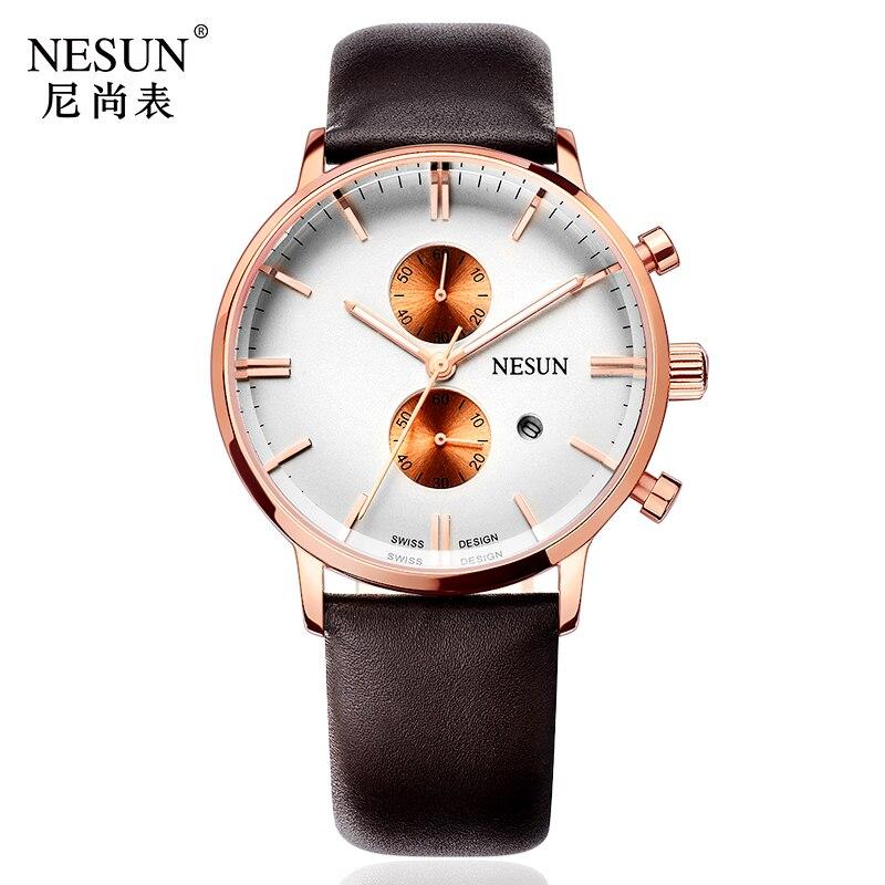 все цены на Nesun Men's Watches Top Brand Luxury Citizen Quartz movement Watch Men Chronograph Wrist clock Waterproof reloj hombre N8601-3 онлайн