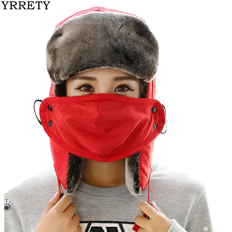YRRETY Winter New Warm Hat Women Bomber Hats For Unisex Thicken Balaclava Fur Winter Earflap Keep Caps Mask Bomber Russian Hats