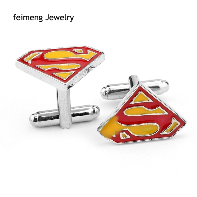 Enamel Jewelry Fashion Superhero Cufflinks Superman Novelty Cufflink Luxury Cuff Links For 2015 Newest Design 20 Pairs