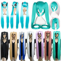 """2016 Newest Vocaloid Miku Hatsune Cosplay Costume Full Wigs 32"""" 80cm Blue Green Golden Long Straight Synthetic Wig Ponytails"""