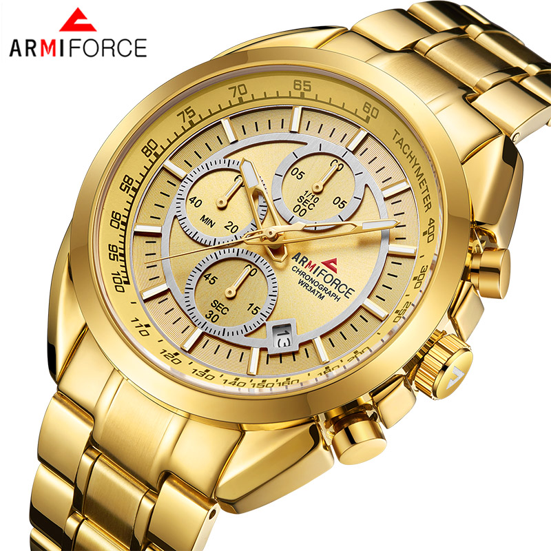 New ARMIFORCE Brand Men Fashion Quartz Gold Watches Mens Army Military Sport Wrist Watch Male Chronograph Date Analog Clock цена