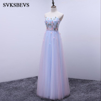 SVKSBEVS 2017 New A Line Flowers Sleeveless Chiffon Long Bridesmaid Dresses Strapless Lace Appliques Wedding Party Prom Gowns