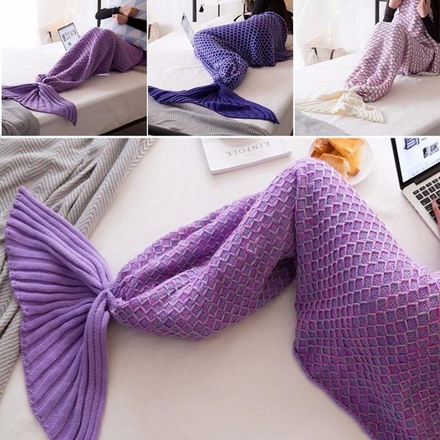 Mermaid Tail Blanket Yarn Knitted Handmade Crochet Mermaid Blanket