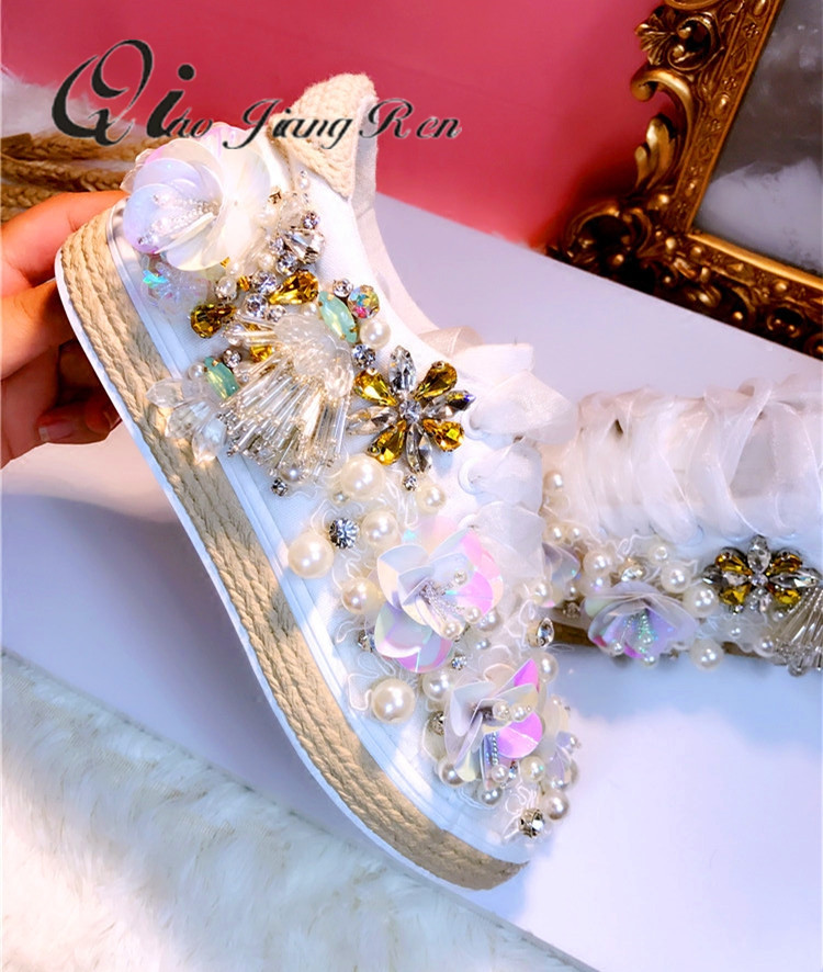 Femme Sauvage 1 Étudiant Perle Diamant Mode Fait Personnalisé Nouveau 2018 Qiaojingren Femelle Blanc Accrue Main Chaussures Toile 6awqxvtAnO