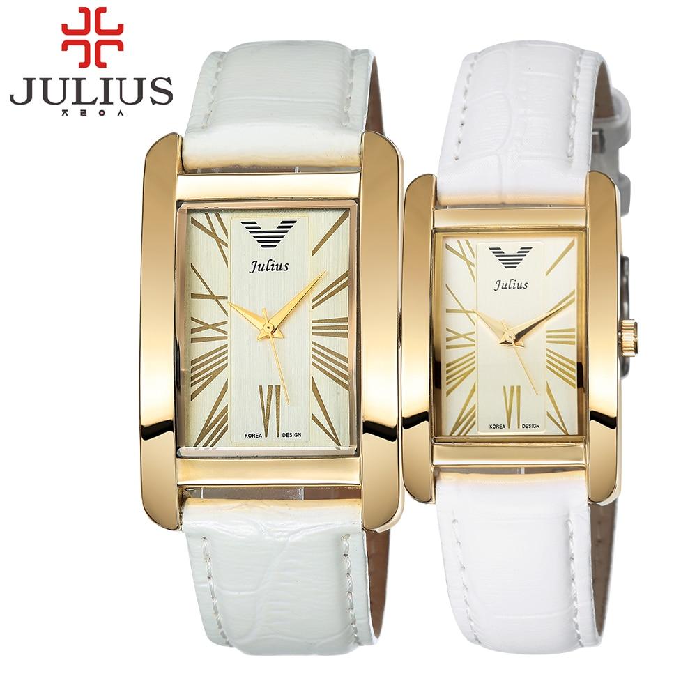 Prix pour 2017 de luxe julius marque rectangle amoureux montre en cuir charme arabe chiffres hommes femmes dames montre-bracelet heures relogio feminino