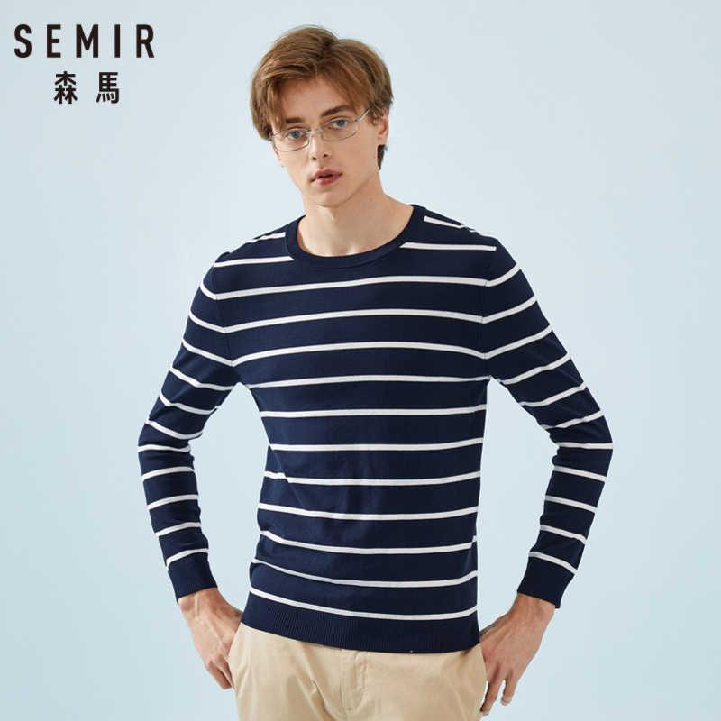 セミール男性ニットセーター男性プルオーバーセーターソフト綿リブクルーネック袖口と裾ファッションセーター春秋