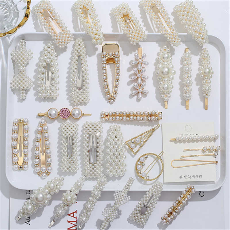 2/4/3/5Pcs-1Set Pearl Metal Hair Clip Hairband Comb Bobby Pins Barrette Hairpin Headdress Accessories Beauty  New