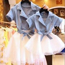 Родитель-ребенок наряд летом 2016 новый мать и дочь ковбой сплайсинга завеса двубортный платье