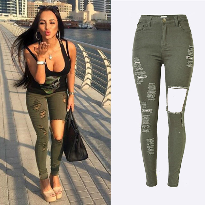 Aliexpress.com : Buy Olrain Womens Denim Stretch Jeans Destroy ...