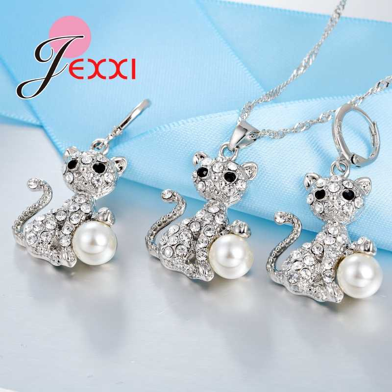 Shiny CZ   and Big Pearl Pretty Cat Pendant for Women Necklace and Earrings 925 Sterling Silver Jewelry Set