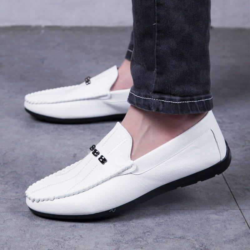 Novos Condução Homem Cinza 2082 Confortáveis On De Sapatos Casuais Mocassins Slip Black white Couro Preto 2019 Homens Unidade Calçados SIqHIwd