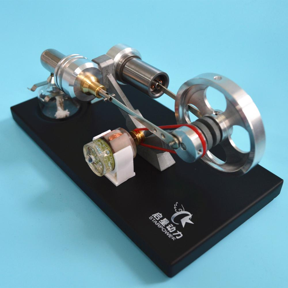 Stirling Engine Generator Model with LED Scientific Experiment Model Toys double cylinder stainless steel aluminium alloy base precision machining mini stirling engine generator with led best gifts