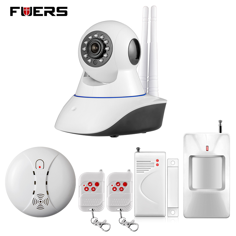 ФОТО Fuers WiFi IP Camera Home Burglar Security smoke fire detector Alarm System+IOS/Android app remote Control network alarm system