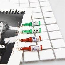 CRLEY Personality simple fashion beer bottle creative acrylic earrings Harajuku Sake design Earrings For Women