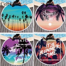 150cm Round Beach Towel Palm Tree Print Series Bath Towels Tassel Microfiber Swimming Towels Outdoor Blanket Boho Style