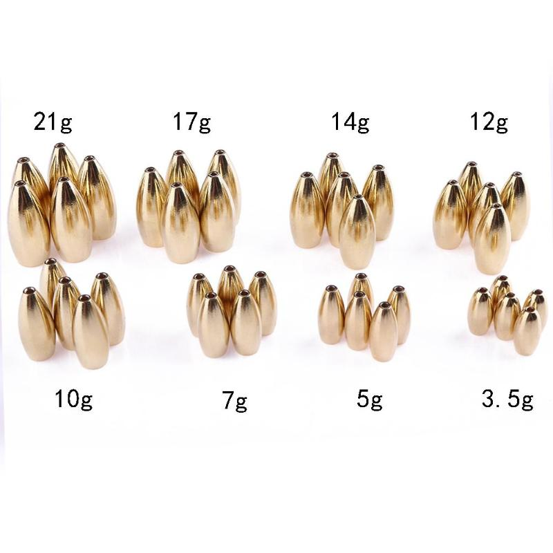 5pcs/lot Copper Bullet Sinker Weight Fast Sinking for Texas Rig Bass Fishing Accessory Lead Sinkers Replacement 3.5g-21g outkit 10pcs lot copper lead sinker weights 10g 7g 5g 3 5g 1 8g sharped bullet copper fishing accessories fishing tackle