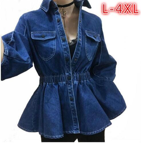 7e8d03f601a New Plus Size Women s Clothes 2018 Autumn Korean Ladies Denim jackets  Fashion Ruffles Slim Denim Outerwear Casual jean jacket
