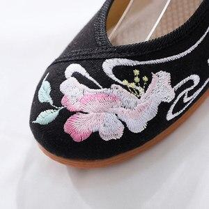 Image 4 - Женские хлопковые балетки Veowalk, Повседневные балетки ручной работы с вышивкой и ремешком на щиколотке, удобные туфли для косплея