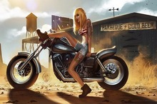 art girl motorcycle tattoo dust sand Anger women females sexy babes mood biker blondes legs Home Decoration Canvas Poster