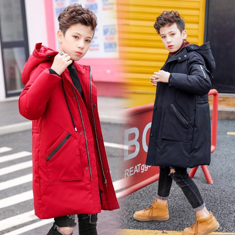 FYH/новая детская одежда зимнее теплое пуховое пальто с капюшоном для мальчиков длинные парки для больших мальчиков школьные детские зимние куртки утепленная верхняя одежда