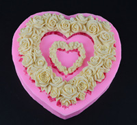 Eco Friendly Large Size Heart Rose Flower Silicone Mold Fondant Wedding Decorating Valentine S Gift Chocolate