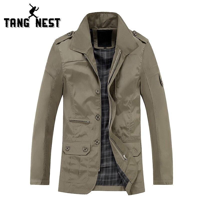 TANGNEST Classic Long Trench Coat Men 2017 Hot Sale Casual Solid Color Jacket Men All-matched Comfortable Men Jacket MWF296