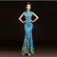 2017 Fashion Red Lace Mermaid Evening Dress Embroidery Phoenix Bride Wedding Qipao Long Cheongsam Chinese Traditional