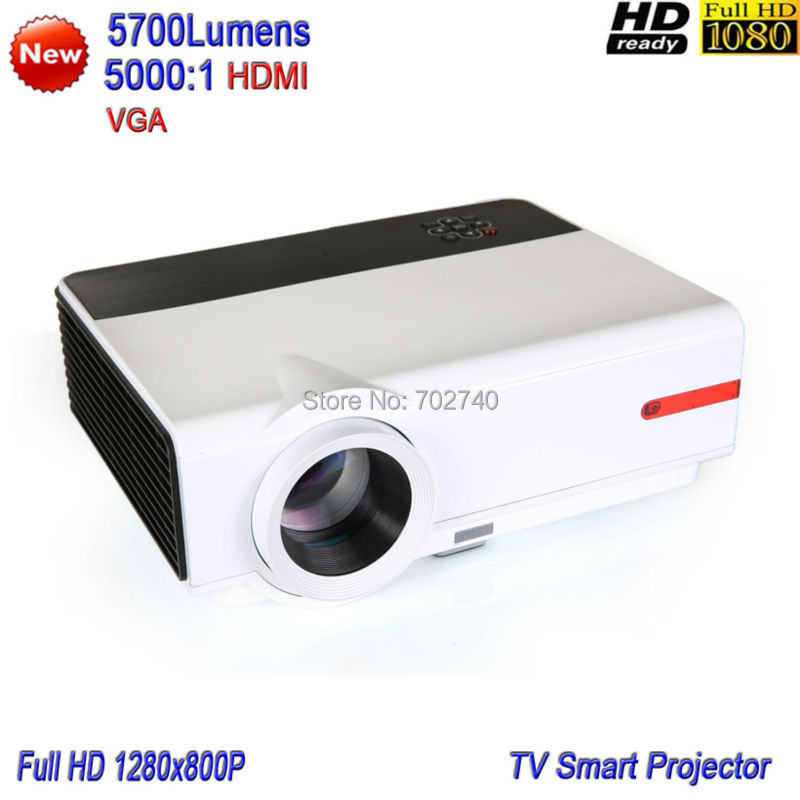 2017 New TV LED Projector 5700 Lumens Multimedia Projector HD 1080P Household Smart Projector Free shipping