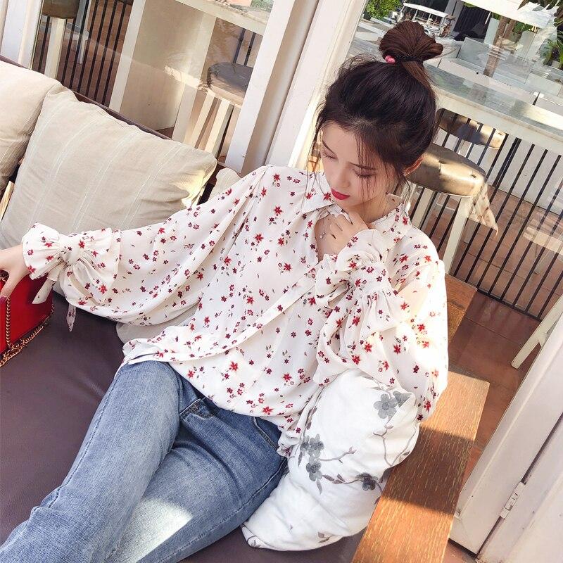 Mishow 2019 Women Fashion Casual Chiffon Tops Floral Long Sleeve Blouse Ladies Korean Blouses  MX17D4547