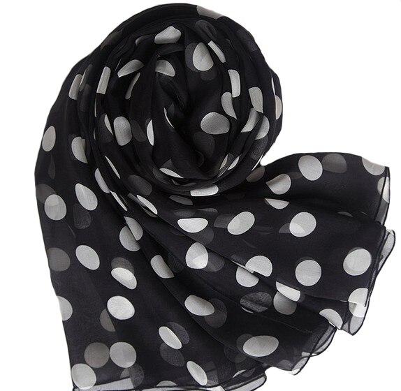 100% Pur marque De Luxe écharpe en soie Pashmina imprimé viscose écharpe châle livraison gratuite Imprimé Noir Dot plage towl Foulards
