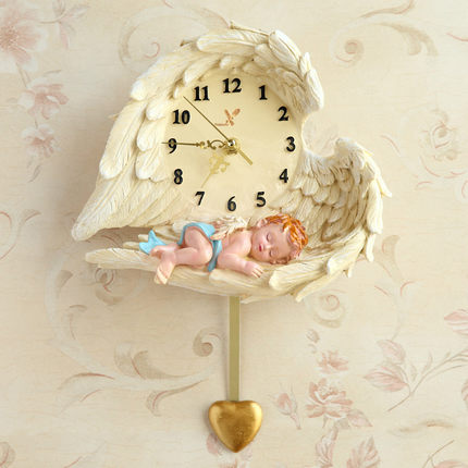 Horloge murale ange horloge amour muet résine fait à la main artisanat cadeaux décor à la maison décoration peinture Vintage Reloj Cocina Pared Clok Z103