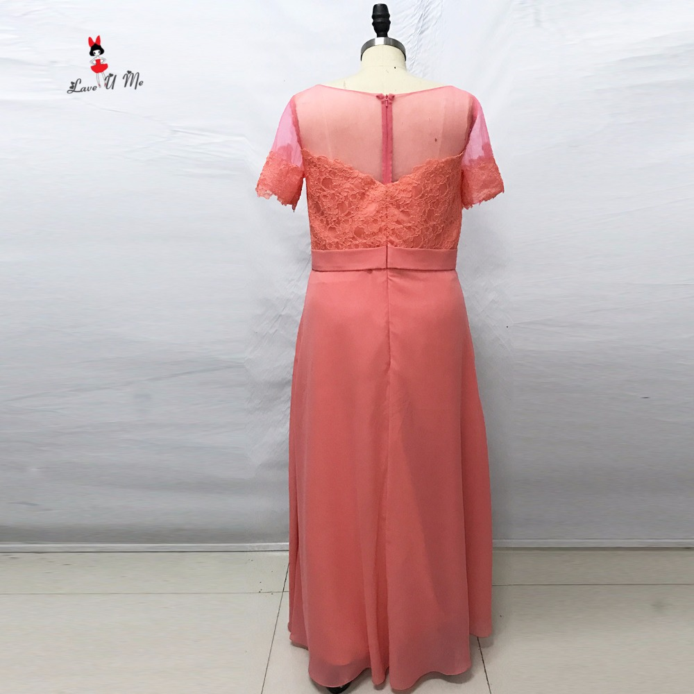 Color coral Vestidos de dama de honor manga corta Encaje de ...