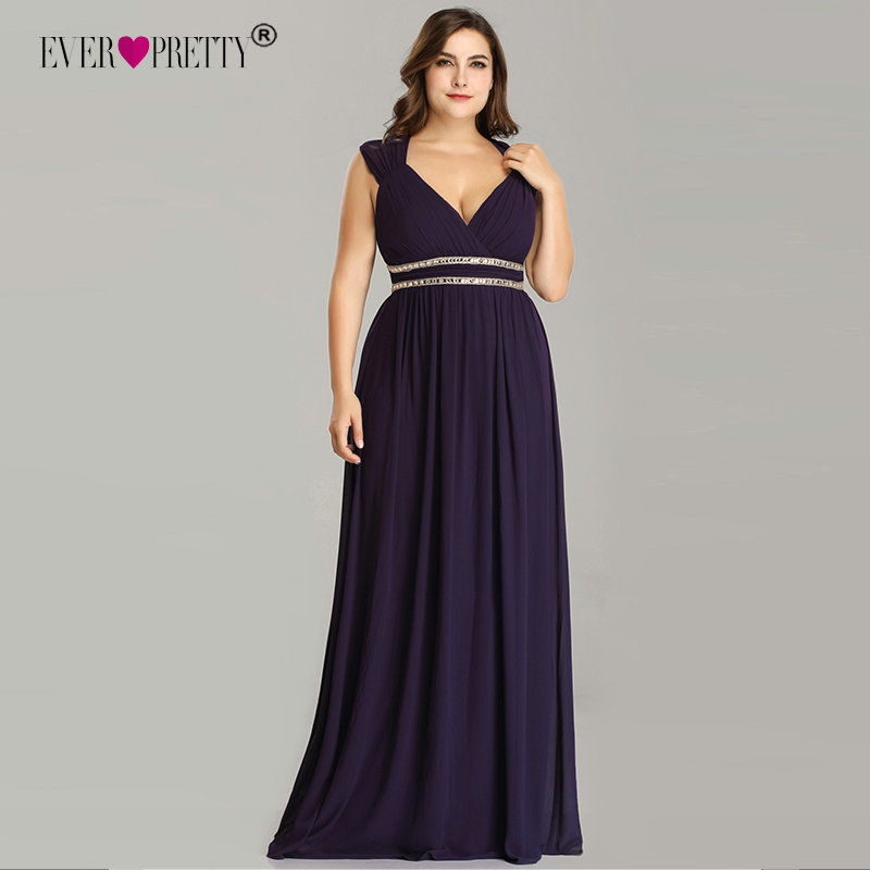 Ever Pretty Plus Size   Prom     Dresses   Long 2019 A-line Chiffon V-neck Sleeveless Cheap Backless Elegant Burgundy Sexy Party Gowns